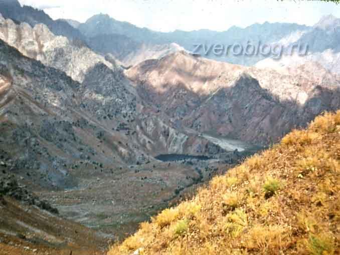 Красивое горное озеро Айгыркуль в Узбекистане с высоты