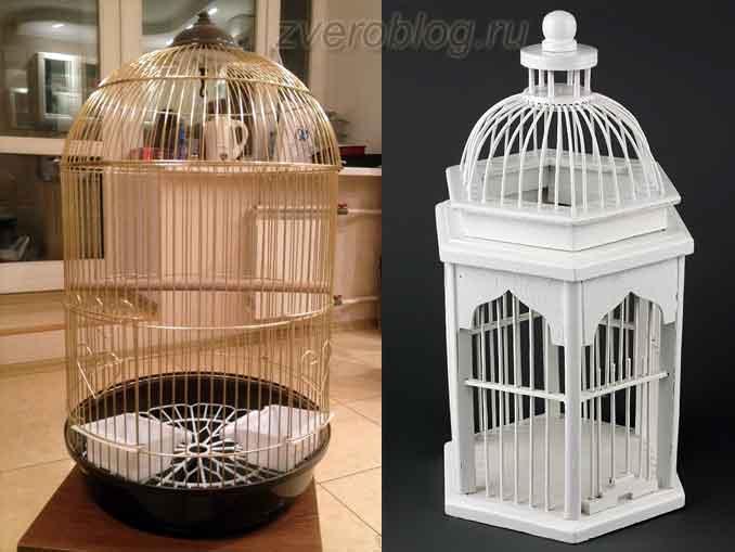 Круглая и фигурная клетки для птиц